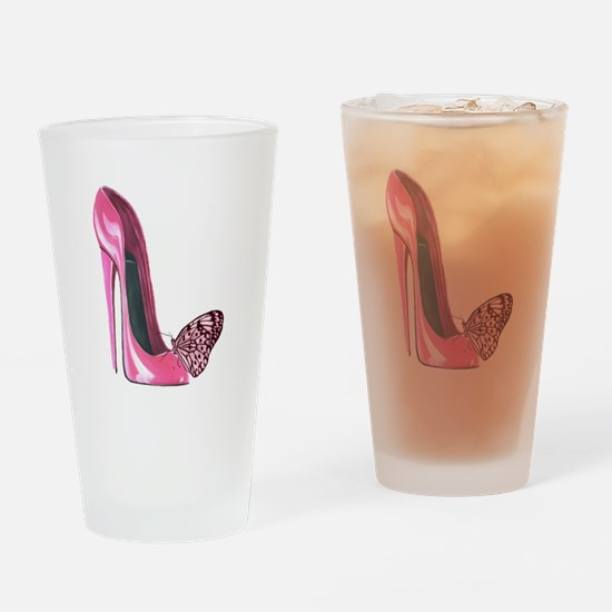 Pink Stiletto Shoe and Butterfly Art Drinking Glas