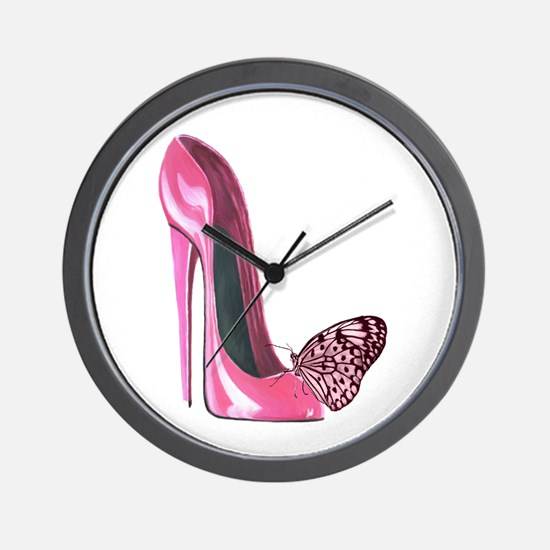 Pink Stiletto Shoe and Butterfly Art Wall Clock