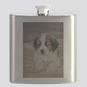 saint bernard puppy Flask