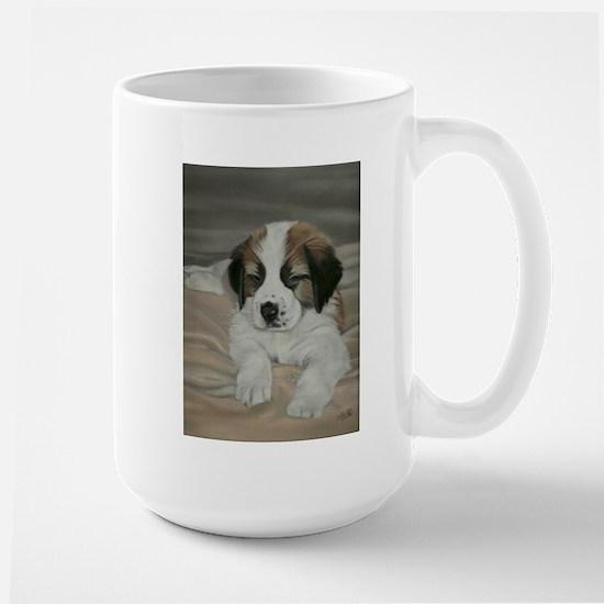 saint bernard puppy Large Mug