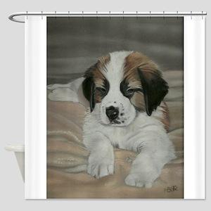saint bernard puppy Shower Curtain