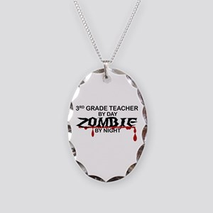 3rd Grade Zombie Necklace Oval Charm