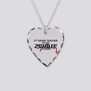 3rd Grade Zombie Necklace Heart Charm