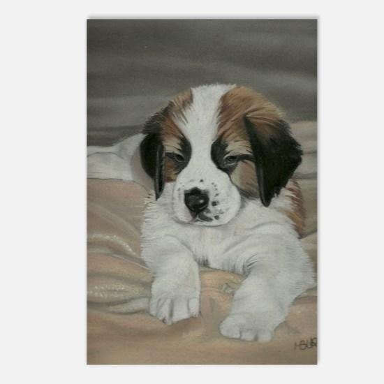 saint bernard puppy Postcards (Package of 8)