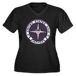 USS INCHON Women's Plus Size V-Neck Dark T-Shirt