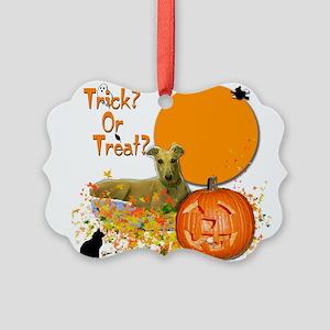 Halloween Greyhound Picture Ornament