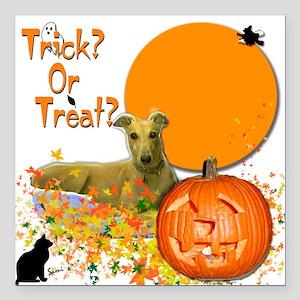 "Halloween Greyhound Square Car Magnet 3"" x 3"""