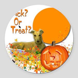 Halloween Greyhound Round Car Magnet