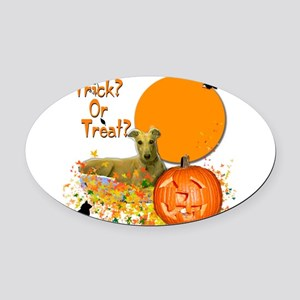 Halloween Greyhound Oval Car Magnet