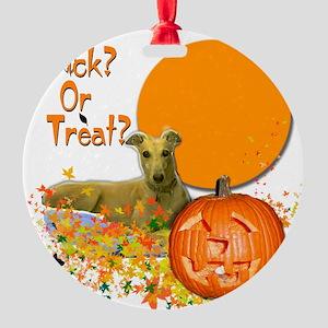 Halloween Greyhound Round Ornament