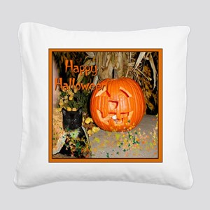 Halloween Black Kitten Square Canvas Pillow