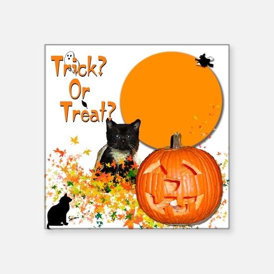 "Halloween Black Kitten Square Sticker 3"" x 3&"