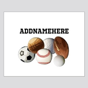 Sports Balls, Custom Name Small Poster