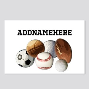 Sports Balls, Custom Name Postcards (Package of 8)