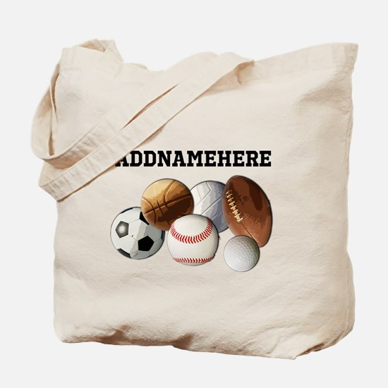 Sports Balls, Custom Name Tote Bag