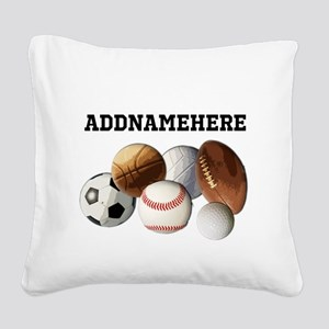 Sports Balls, Custom Name Square Canvas Pillow