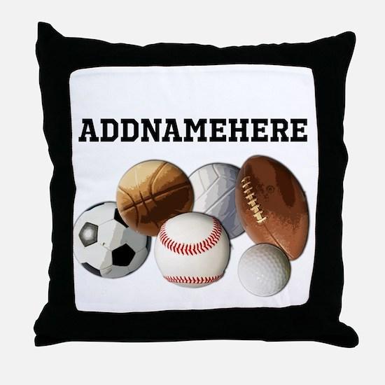 Sports Balls, Custom Name Throw Pillow