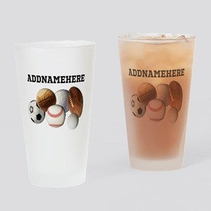 Sports Balls, Custom Name Drinking Glass