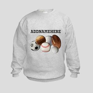 Sports Balls, Custom Name Kids Sweatshirt