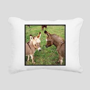Two Baby Donkeys Rectangular Canvas Pillow
