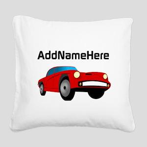 Sports Car, Custom Name Square Canvas Pillow