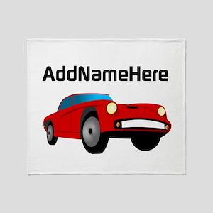 Sports Car, Custom Name Throw Blanket