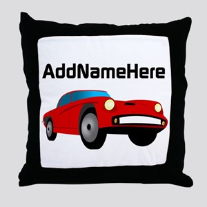 Sports Car, Custom Name Throw Pillow