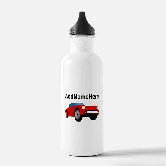 Sports Car, Custom Name Water Bottle