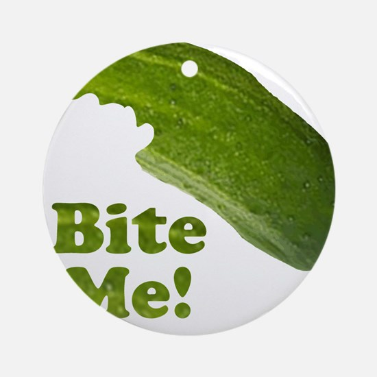 Bite Me! Pickle Ornament (Round)