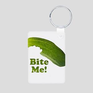 Bite Me! Pickle Aluminum Photo Keychain