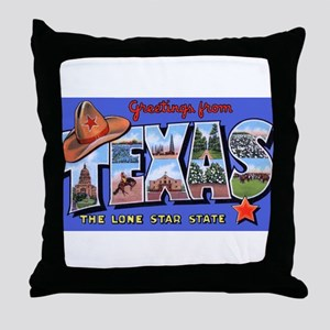 Texas Greetings Throw Pillow