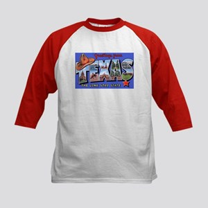 Texas Greetings (Front) Kids Baseball Jersey