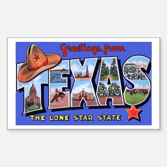 Texas Greetings Rectangle Decal