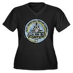 USS ISLE ROY Women's Plus Size V-Neck Dark T-Shirt