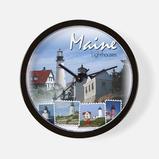 Maine Lighthouses Wall Clock