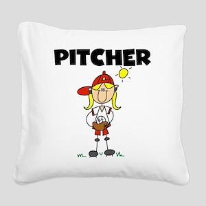 girlbaseballpitcher Square Canvas Pillow