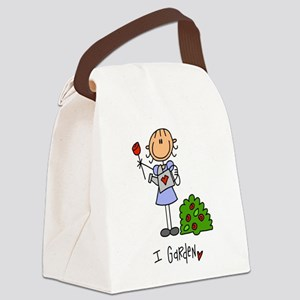 I Garden Stick Figure Canvas Lunch Bag