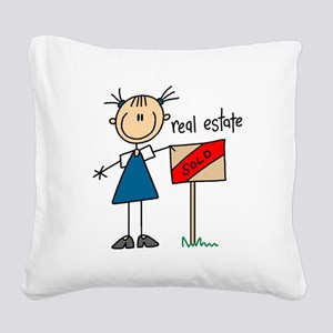 realestatestickfig Square Canvas Pillow