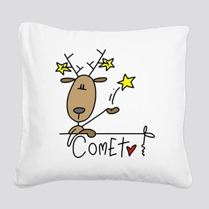 reindeercomet Square Canvas Pillow