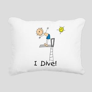 Boy I Dive Stick Figure Rectangular Canvas Pillow