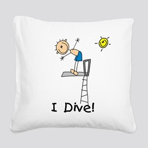 Boy I Dive Stick Figure Square Canvas Pillow