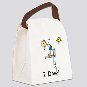 Boy I Dive Stick Figure Canvas Lunch Bag