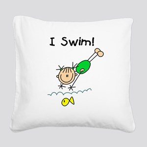 ISWIMGIRLTEE Square Canvas Pillow