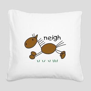 horseneigh Square Canvas Pillow