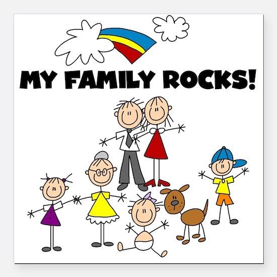FAMILY STICK FIGURES Square Car Magnet 3&Quot; X 3