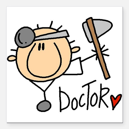 "headdoctormale.png Square Car Magnet 3"" x 3"""
