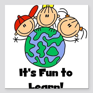 """funtolearngeography Square Car Magnet 3"""" x 3"""""""