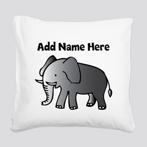 Personalized Elephant Square Canvas Pillow
