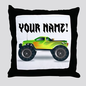 Personalized Monster Truck Throw Pillow