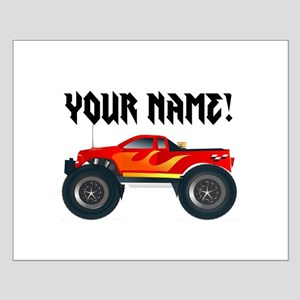 Red Monster Truck Personalized Small Poster